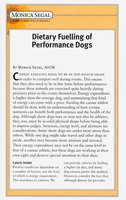 Dietary Fuelling Of Performance Dogs - Monica Segal