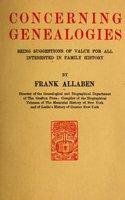 Concerning Genealogies - Frank Allaben