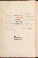 The Great William: Writers Reading Shakespeare - Theodore Leinwand